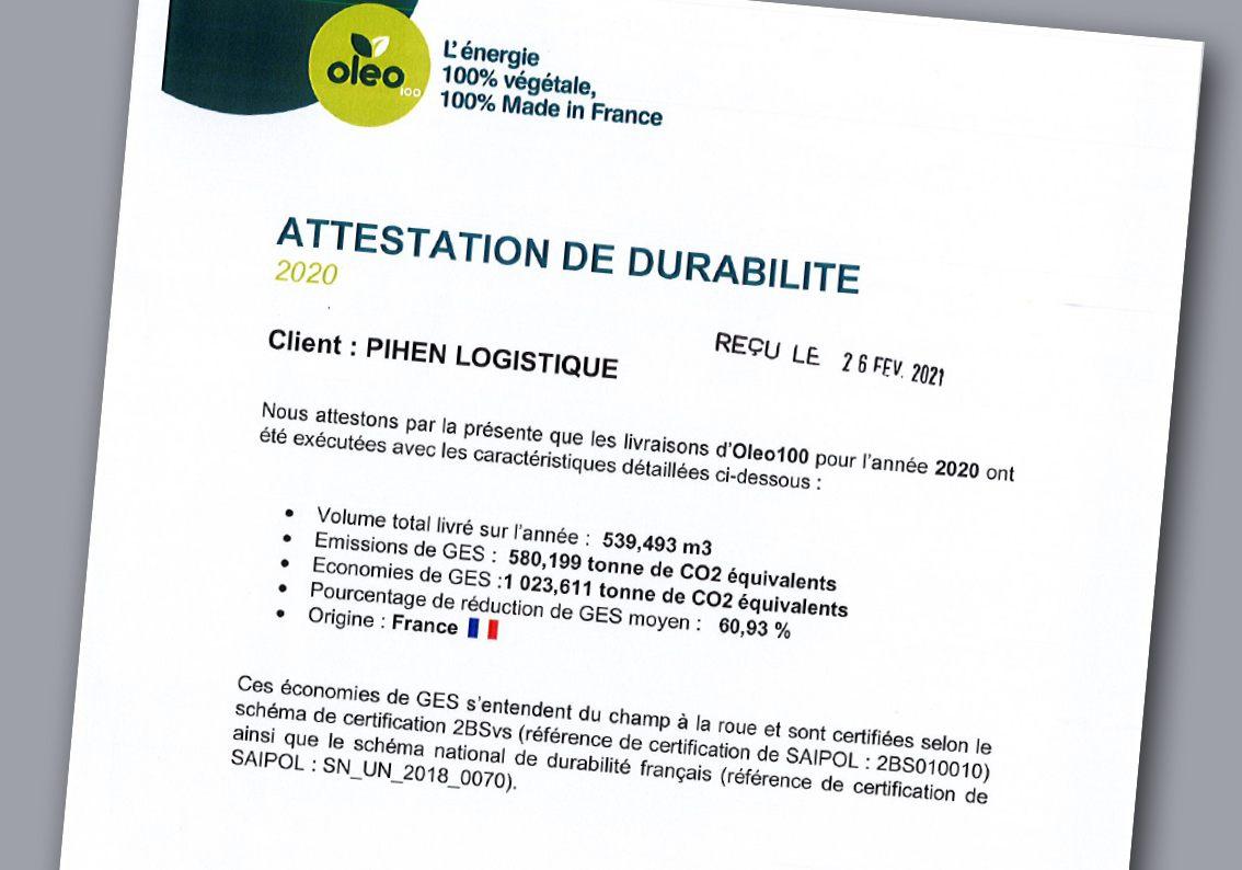 Pihen-Oleo-Attestation-Durabilite-2021